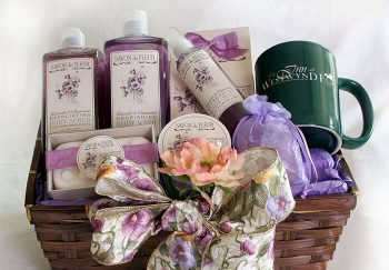 Gift basket containing bath products