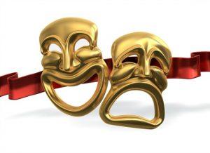 Happy and sad drama masks