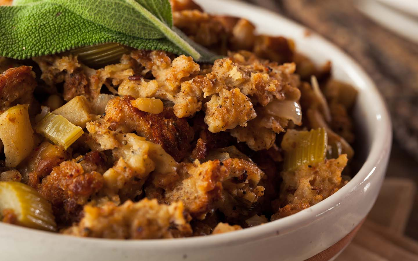 Homemade thanksgiving stuffing in a bowl