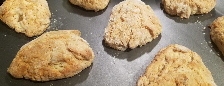 Freshly-baked scones come out of oven on tray