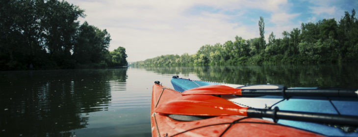 Two kayaks sit facing down a long river lined with trees