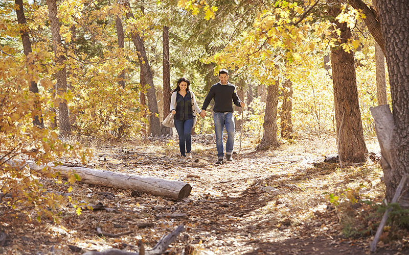 couple hiking in the woods in the fall