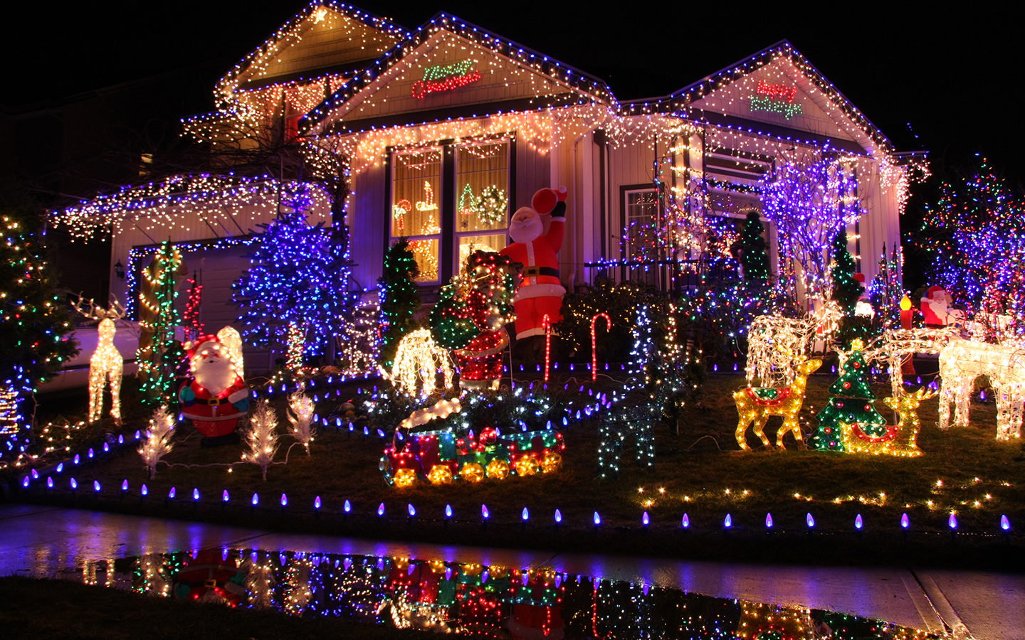 A house and lawn covered in Christmas lights of all colors