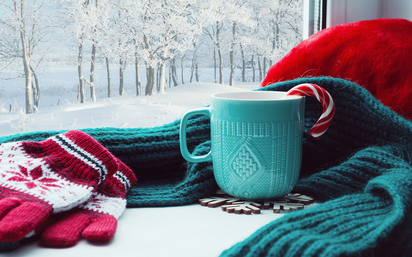 A mug with a candy cane hanging out of it sits nestled in a scarf by gloves next to a window showing a snowy forest