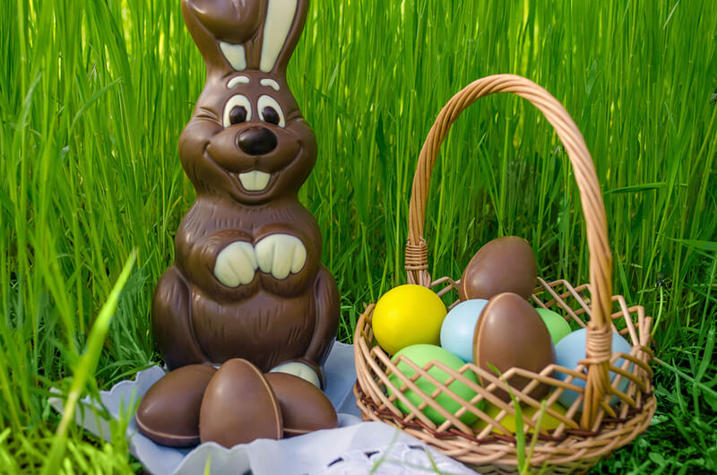 Chocolate rabbit and basket with eggs in the tall grass