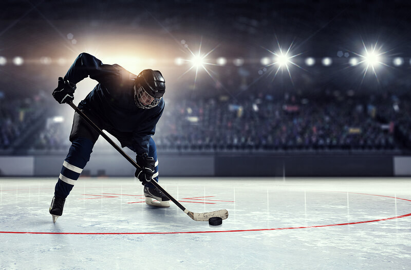 Hockey player on ice rink with a crowd in the stands