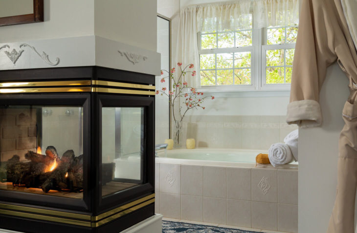 Antares Suite fireplace and bath