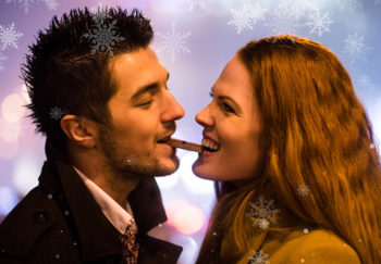 Couple eating chocolate