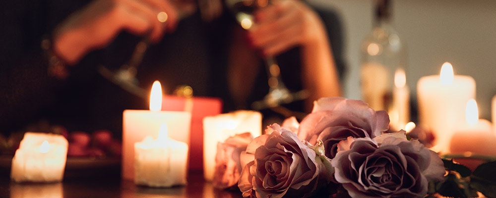 flowers and candles for a romantic night