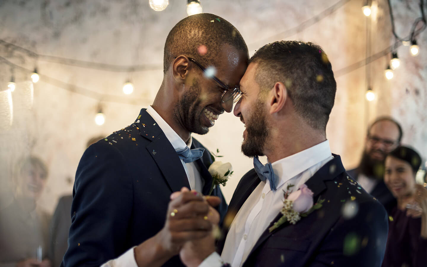 two grooms on their wedding day