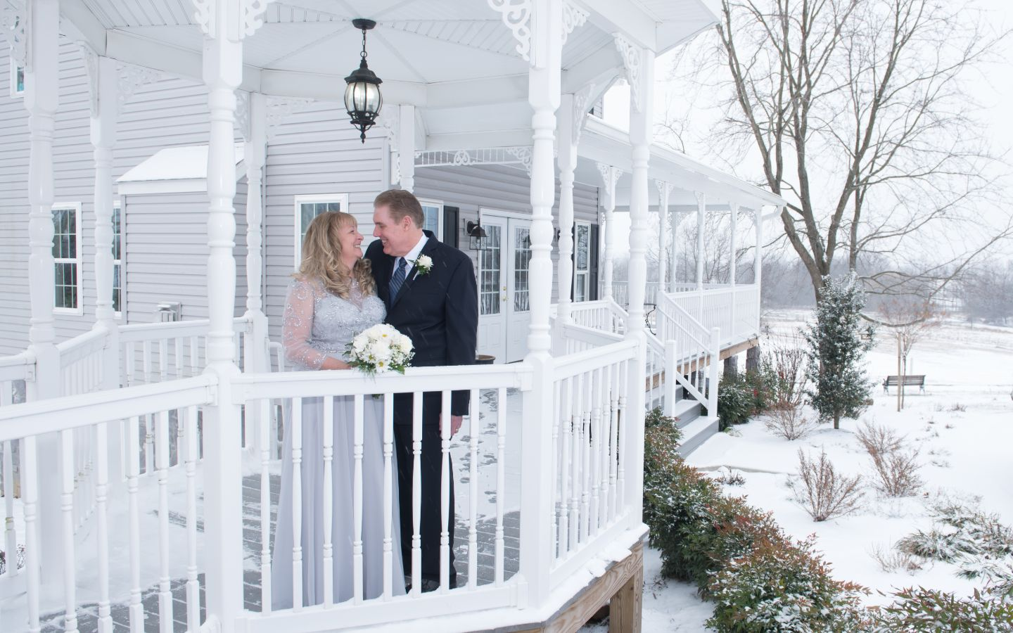 Winter Elopement in PA Gazebo
