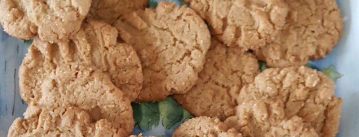 Fresh batch of vegan peanut butter cookies on a blue winter platter