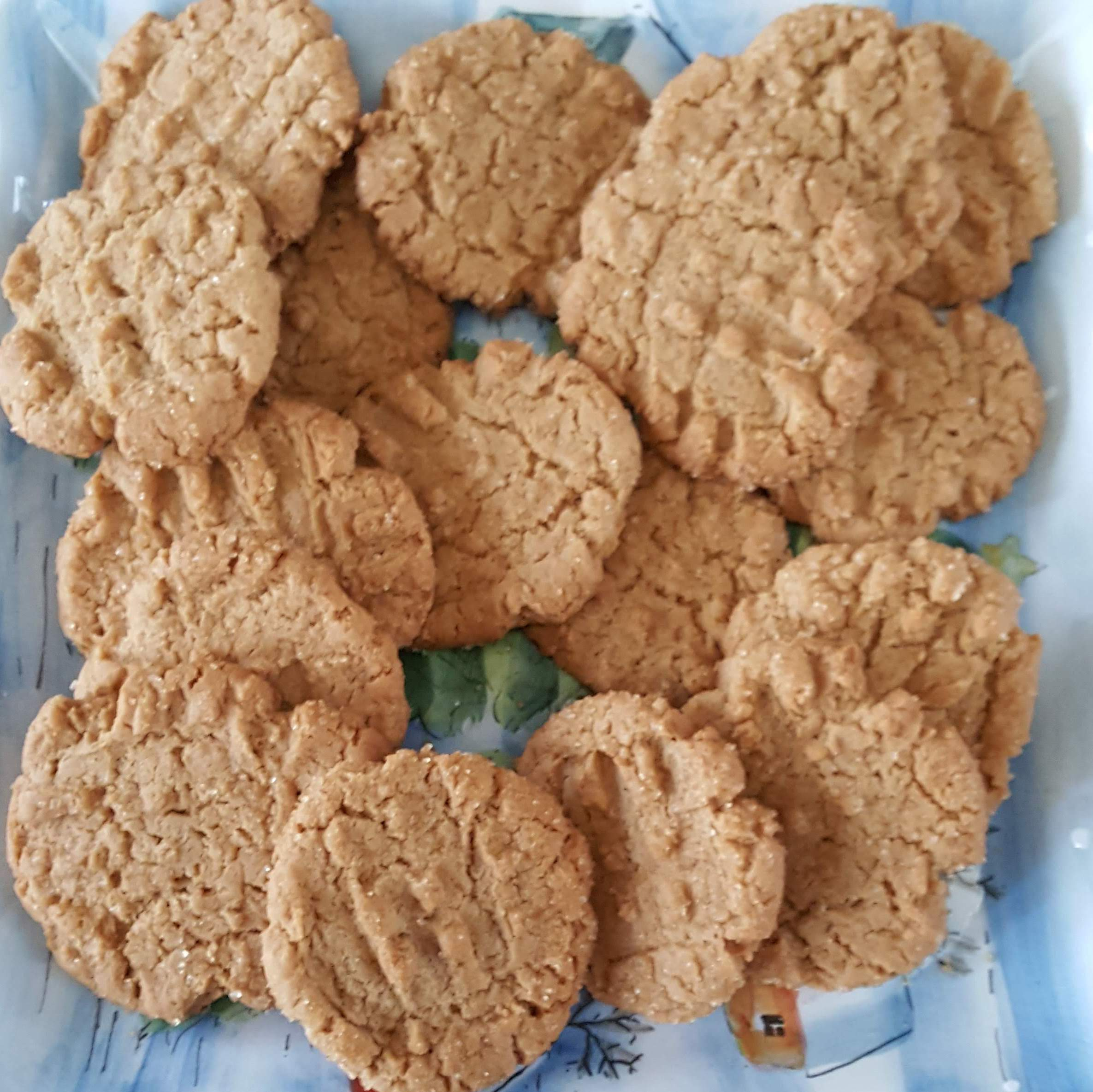 Fresh batch of vegan peanut butter cookies on a blue winter platter
