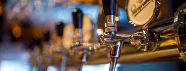 Row of beer taps