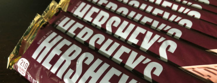 Stack of Hershey candy bars